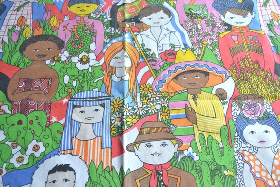 Vintage fabric children of the world 28 x 45 fabric panel for Children of the world fabric