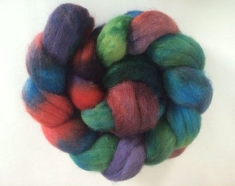 """Hand-dyed Corriedale Cross 4.1 oz. """"Mixed Berry Salad"""" spinning fiber roving"""