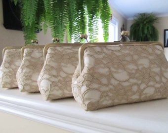 SALE, 15% Off, Bridal Silk And Lace Clutch Set Of 4 Champagne,Wedding Clutch,Bridesmaid Clutches,Bridal Accessories