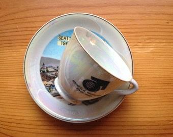 The Worlds Fair seattle 1962 tea cup plate souvenir vintage