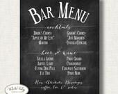 Bar menu - printable -chalkboard