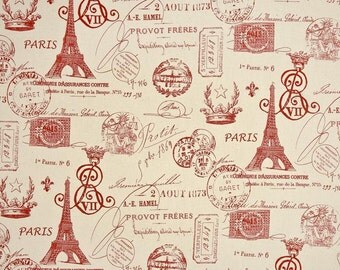 Custom made designer curtain panels drapes, French Stamp Primary red natural