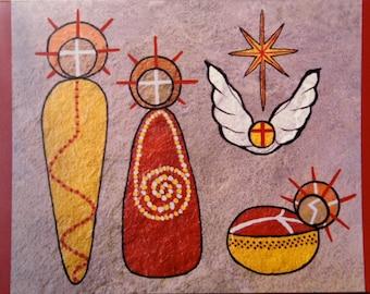 Set of Eight Holy Family Nativity scene Christmas Cards