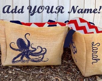 Personalized Custom Octopus Burlap Market Tote Bag - Handmade