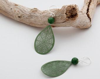 Green Dangle Earrings Green Earrings Green Handmade dangle earrings green jewelry