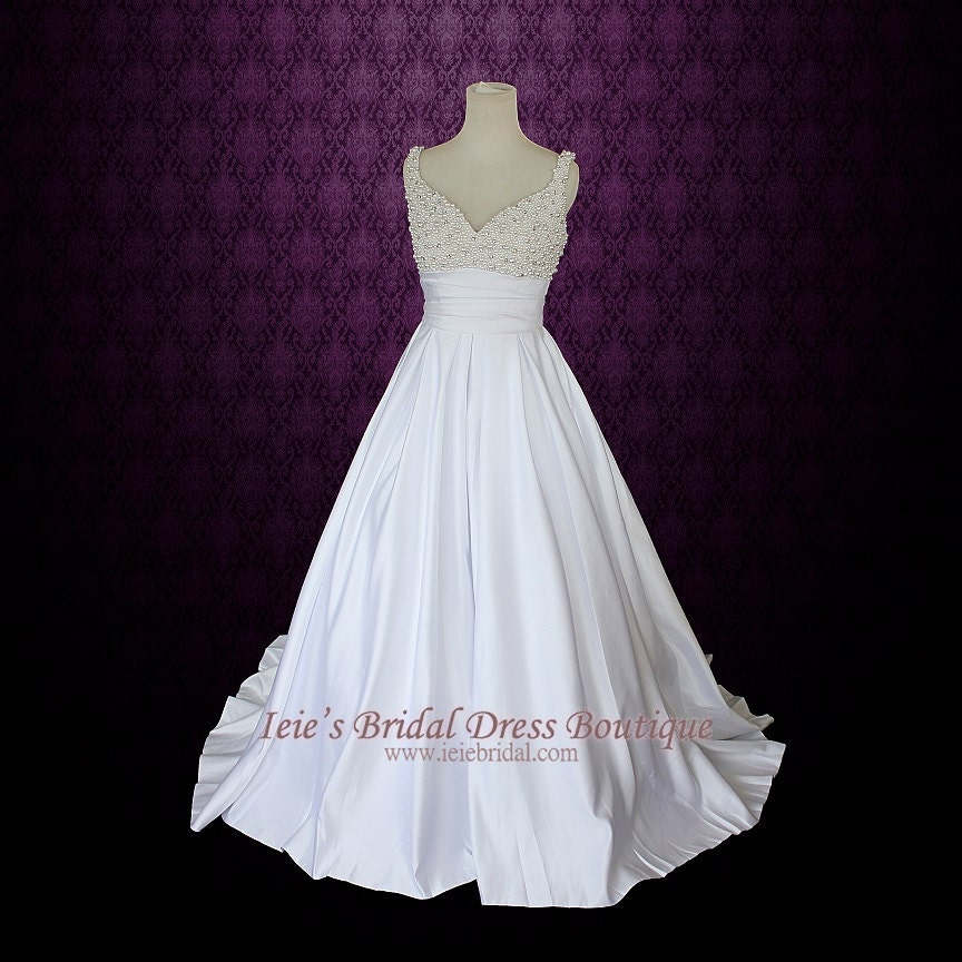 Style Axnf Maxine Wedding Dress Simple Yet Elegant This: A-line Wedding Dress With Pearl Beaded Bodice And Straps