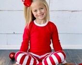 Red/White and Green/White Striped Pajamas
