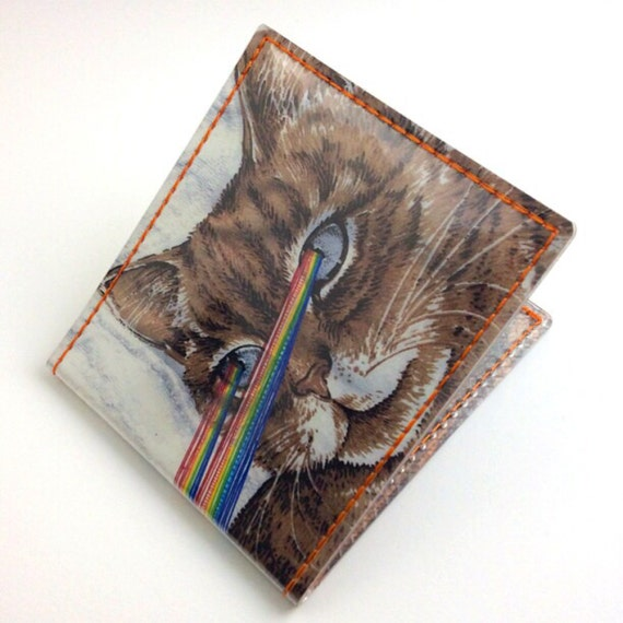 Handmade Billfold Vinyl Art Wallet - Laserkitty