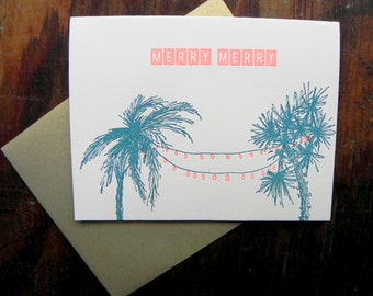 5  pack Letterpress Folded Card Holiday Palms Merry Merry