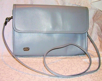 PHILLIPPE Grey Leather Purse, Convertible Shoulder Bag or Clutch
