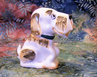 OCCUPIED JAPAN DOG, Vintage Porcelain Hand Painted Brown and White