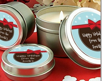 All Wrapped Up Gifts -Personalized Christmas Candle Favors – Scented Candle in Tin- Set of 10
