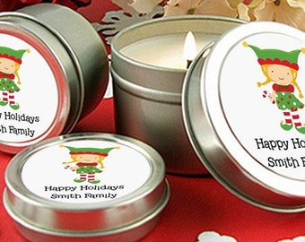 Santa's Little Elfie  - Personalized Christmas Candle Favors – Scented Candle in Tin- Set of 10