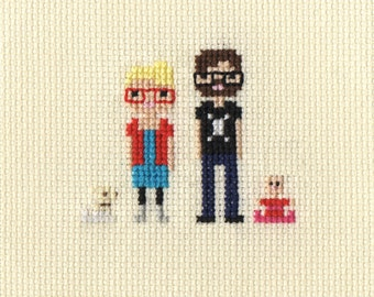 New Baby / Christening Custom Pixel Cross Stitch Portrait (Framed)