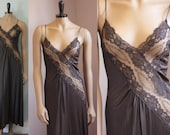 Vintage black sexy lacy nightgown with side slit