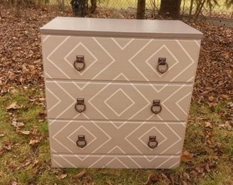 Cottage Taupe Grey Striped Dresser