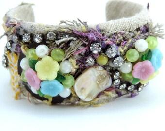 Jewelry Bracelet,  Cuff Style, Vintage Fabrics,  Bohemian Look,  Vintage Earrings,  Shell Beads,   Handmade OOAK
