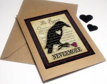 The Raven Card, macabre Valentine, anti Valentine, goth Valentine, Edgar Allan Poe, Nevermore, romantic card, broken heart, lost love, poem