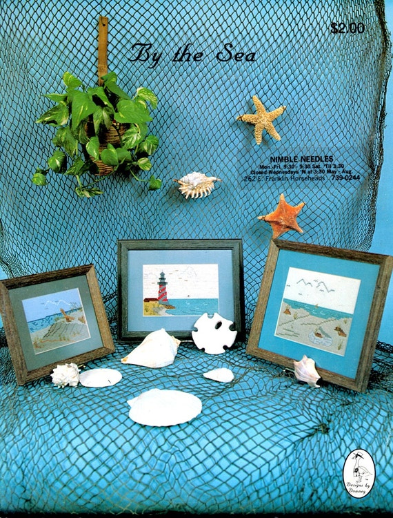 By the Sea Beach Lighthouse Sand Dunes Sea Shells Birds Long Grasses Sail Boat Counted Cross Stitch Embroidery Craft Pattern Leaflet