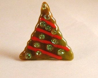 Whimsical sparkly Fused Glass Christmas tree pin, CT1418