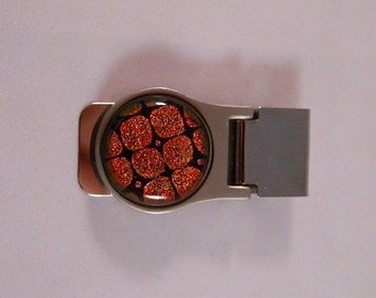 French Style Money Clip with Burnt Orange Dichroic Fused Glass Accent, MC1