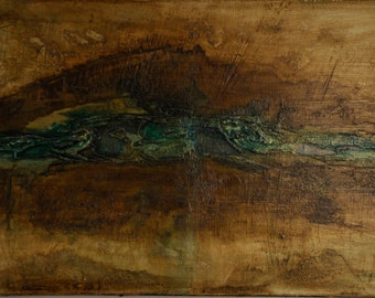 Original Mixed Media painting browns turquois green earth tones