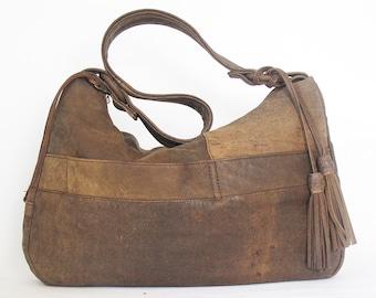 Tan Leather Jacket Handbag ... Slouchy Rustic Hobo Bag