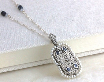 Vintage Style Reproduction Filigree Natural Blue Sapphire, Diamond, Pearl and Sterling Silver Necklace - Recycled - Ethical - Ready to Ship