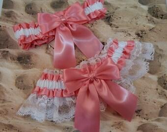 Coral Pink Watermelon Satin White Satin Lace Wedding Bridal Garter Toss Set