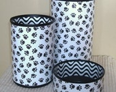 Black and White Paw Prints Desk Accessories - Paw Print Pencil Holder - Animal Print Desk Organization - Office Desk Decor - 946