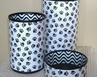 Black and White Paw Prints Desk Accessories - Paw Print Pencil Holder - Animal Print Desk Organization - Office Desk Decor - 1015
