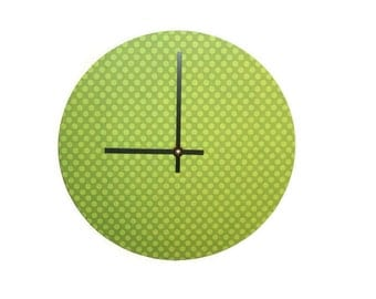Green Polka Dot Wall Clock - Contemporary Wall Clock -  Unique Wall Decor - Modern Wall Clock -  - Minimalist Home Decor - 1576