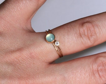 SOLID 14k Gold Rings - Natural I1 White Diamond and an Aqua Chalcedony - Set of Two Tiny Delicate Stacking Rings - Thin Gold Rings