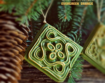 Aroma Ornament - Evergreen Orange Beeswax decoration, shimmering, eco-friendly, naturally scented