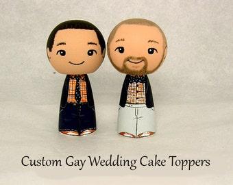 Custom Gay Lesbian Same Sex Homsexual Wedding Cake Toppers Kokeshi Doll Wedding Decor