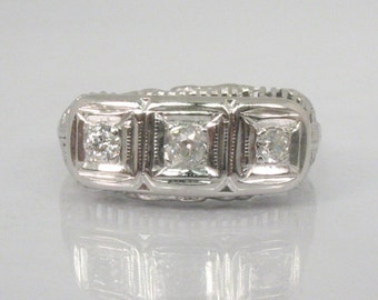 Vintage Old European Cut Three Diamond Band