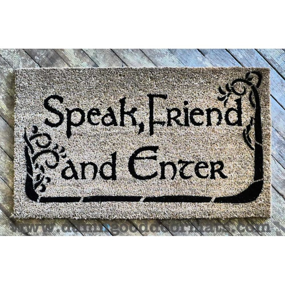 Tolkien speak friend and enter with trees - Geeky welcome mats ...