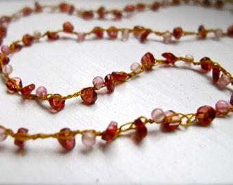 Necklace of Kisses : Garnet & Rose Quartz Silk Woven Necklace