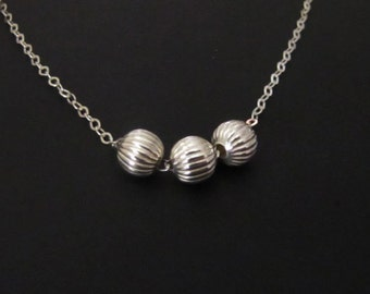 Sterling Silver Neckace, Round Beads Necklace, Pendant Necklace, Charm Necklace, Jewelry, Gift