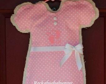 New Baby Burlap Door Hanger/New BabyAnnouncement/BoyJonJon/GirlRomper/BabyShowerGift/NurseryDecor