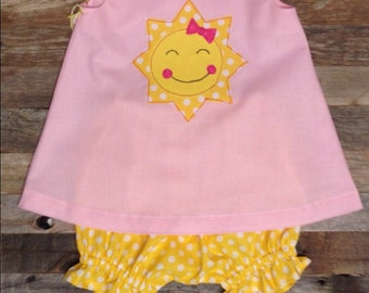 Pink and yellow You Are My Sunshine or Our Little Sunshine First Birthday dress and bloomers
