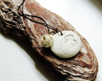 Personalized Initial Necklace White Flower Jewelry Polymer Clay Bridesmaid Gift Pendant Jewellery