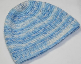 Hand Crocheted Blue Baby Hat for 6-Month Old - Boo Berries Jacquard- Free U.S. Shipping
