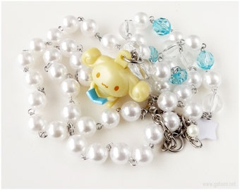 Cinnamoroll Espresso Necklace, Beaded Pearl Chain, White and Baby Blue - Fairy Kei, Sweet Lolita