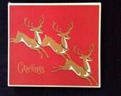 Vintage Holiday Christmas Greeting Card Set - Reindeer Greetings Lot of 18