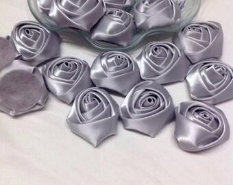 Gray  satin fabric flower trim bridal wedding accessory trims 10 pc Satin Roses Pin Brooch Hair Accessory Baby Girls Bow Headband Quilting