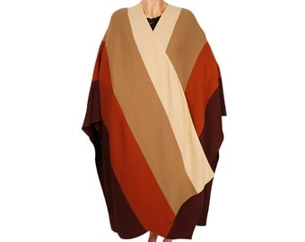 1980s Wrap Color Block Stole - Wool