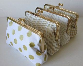 Bridesmaid Gift, Gold and white Personalized Wedding Clutches, Accessory, clutches