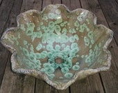 "READY TO SHIP Large 17"" Diameter Handmade Flower Edge Green Rust Red Beige Brown Crystalline Glazed Vessel Sink"