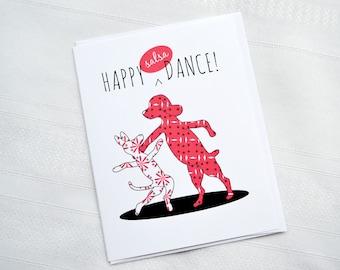 Happy Dance - Salsa Dancing Dog Greeting Card